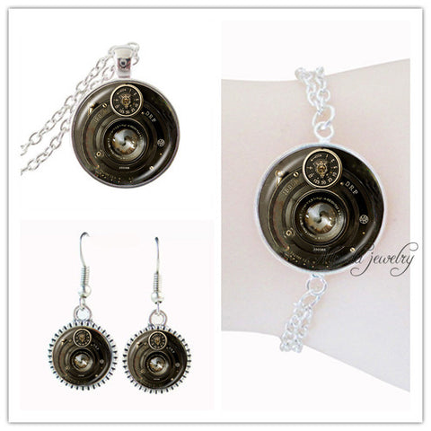 Vintage black round Camera Lens set jewelry silver plated Camera earring and necklace set for women men photographer jewellery - onlinejewelleryshopaus