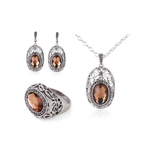 Fashion Jewellery Vintage Silver Plated Brown Glass Crystal Women Jewelry Sets Pendant Necklace Set - onlinejewelleryshopaus