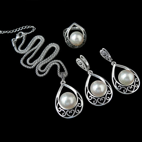 HENSEN Vintage Silver Plated Jewellery Fashion Hollow Out Water Drop With Imitation Pearl Jewelry Sets For Women - onlinejewelleryshopaus
