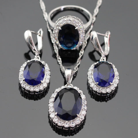 White CZ Blue Created Sapphire Silver Color Jewelry Set Necklace/Pendant/Ring Earring For Women Christmas Free Gift Box - onlinejewelleryshopaus