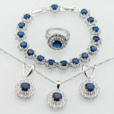 Silver Color Jewelry Sets Blue Created Sapphire White CZ For Women Bracelets Earrings Rings Necklace Pendant Free Gift Box - onlinejewelleryshopaus