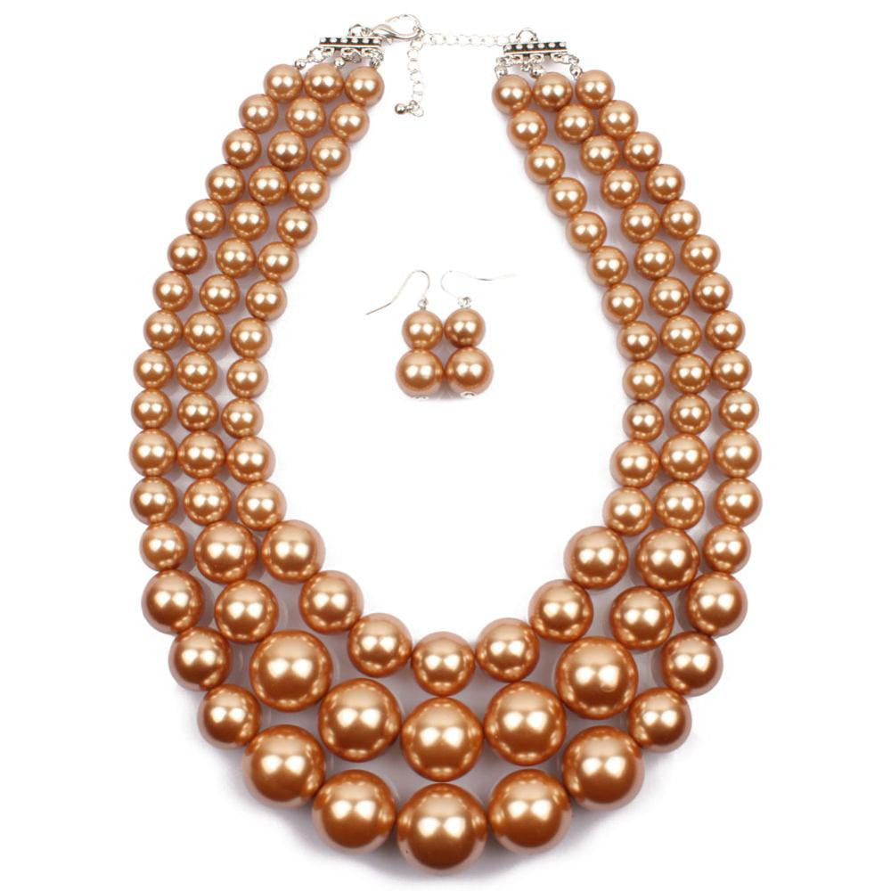 12a9d6f15a1 Fine Jewellery Jewellery Sets Three Chains Pearl Necklace Earrings Set – Online  Jewellery Shop