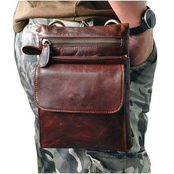 Men Bags 8 inch Brown prevention Waist Pack Vintage Oil wax leather shoulder bag/Cell Phone Case Cow Leather Messenger Bags - onlinejewelleryshopaus