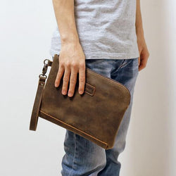 2017 Crazy Horse Leather Handbag Men Clutch Bags Vintage Men's Large Capacity Genuine Leather Fashion Brown Envelope Clutch Bag - onlinejewelleryshopaus