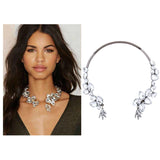 Fashion Flower Choker Necklace Bohemian Silver Color Statement Choker Necklaces Cuff Jewelry for Women Beach Jewelry N53721 - onlinejewelleryshopaus