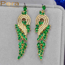Vintage Gold Plated African And Nigerian Women Big Wedding Party Long Dangle Drop Earrings With Created Emerald Green Stone E227 - onlinejewelleryshopaus
