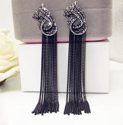 2016 Boho black Crystal Stone Pearl Long Tassel Drop Earrings Vintage Dangle Earrings For Women Statement fashion Jewelry - onlinejewelleryshopaus
