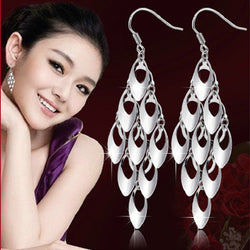 S925 pure silver tassel drop earring peacock tail long design drop earring earrings female silver earring - onlinejewelleryshopaus