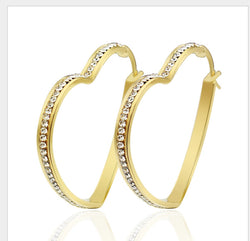 Fashion Female Jewelry IP gold plated hoop Earrings For Women 316L Stainless Steel  simple Rock AAA zirconia Earrings - onlinejewelleryshopaus