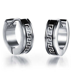 Classic Hoop Earrings 316L Stainless Steel Small Huggie Hoop Earrings For Men Great Wall Pattern Silver Black Earrings - onlinejewelleryshopaus