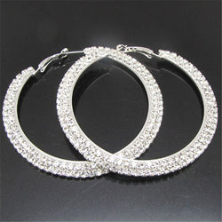 Fashion Rhinestone Crystal Big Hoop Earrings In Golden / Silver plated Jewelry Earrings - onlinejewelleryshopaus
