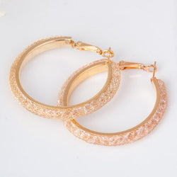 gold plated Crystal Earrings round pattern crystal Hoop Earring women - onlinejewelleryshopaus