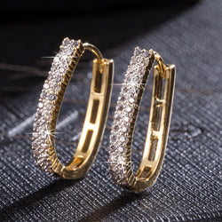 LUFANG Fashion Crystal Punk Hoop Earrings 2017 Zircon Statement Flower Bohemia Ethnic Gold Color Earrings Women Brand Jewelry - onlinejewelleryshopaus