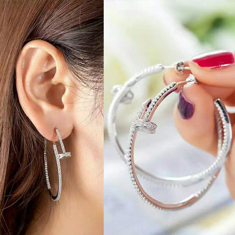 2016 Top Quality Unique Shining Punk Nail Earrings With AAA+ Cubic Zirconia Hoop Earrings For Women Girl brincos WE223 - onlinejewelleryshopaus