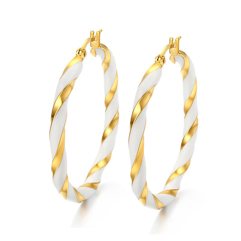 Meaeguet Classic Twist Distort Rounded Big Hoop Earrings for Women Gold Plated Fashion Jewelry Statement Earrings - onlinejewelleryshopaus
