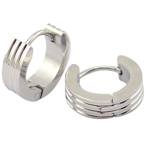 4mm*9mm Engraved Stripes Stainless Steel Hoop Earrings medium  Unisex  cartilage earring,upper ear lobe - onlinejewelleryshopaus