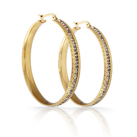 Free Shipping Stainless Steel Gold color fashion Dia 4.6CM Thread Hoop earrings Girl Earrings - onlinejewelleryshopaus
