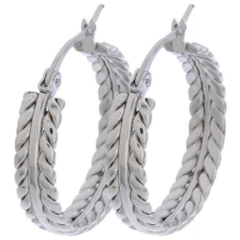 316L Stainless Steel Hoop Earrings Stunning Leaf Round Earrings Rhodium Plated Ear Wire Loop Earrings 2017 New Arrival - onlinejewelleryshopaus