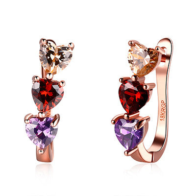 Valentine's Day Gifts Fashion Rose Gold Plated Heart Hoop Earrings Colorful CZ Diamond Rhinestone Engagement Jewelry For Women - onlinejewelleryshopaus