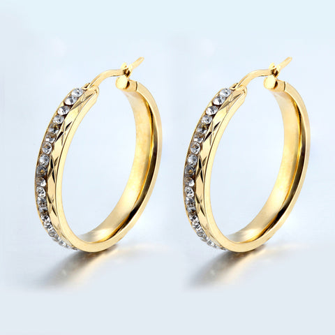 New Fashion Elegant Round Crystal High Quality Gold for Women Hoop Earrings Party Earrings Women Fashion Jewelry - onlinejewelleryshopaus