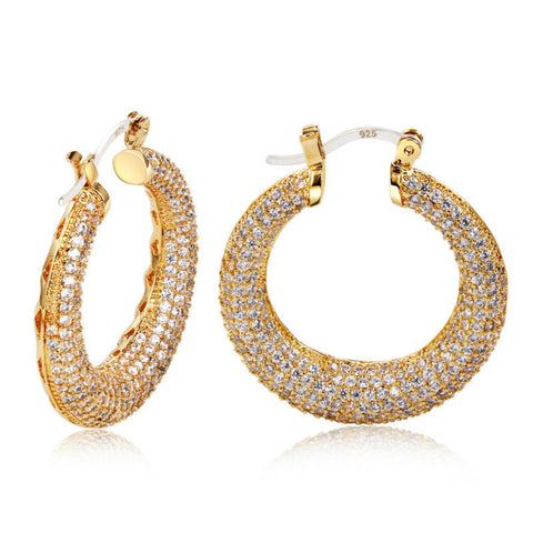DC1989 Hot Selling Ladies Round Shape Hoop Earrings Synthetic Cubic Zirconia Allergy Free  Lead Free Bridal Wedding Jewelry - onlinejewelleryshopaus
