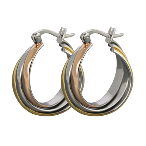 Female Fashion Hoop Earrings Stainless Steel Rose Gold&gold&silver Color Big Earrings for Women Jewelry - onlinejewelleryshopaus