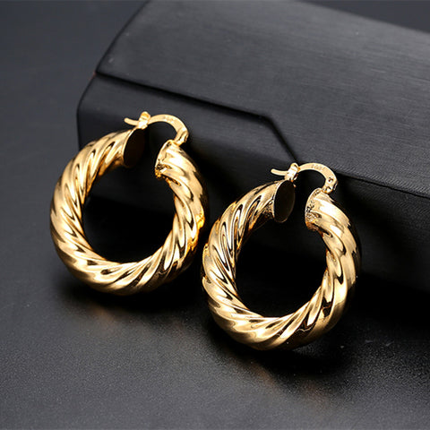 8892 New Luxurious Fashion Jewelry Big Size Round Earrings Gold Earrings For Women Trendy Hoop Earrings Gift Party - onlinejewelleryshopaus