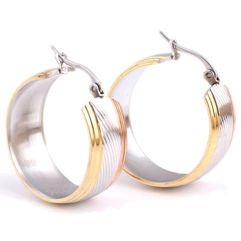 Mix Color Hoop Earrings Stainless steel Fashion Jewelry Wholesale Twisted Round Earrings For Women - onlinejewelleryshopaus
