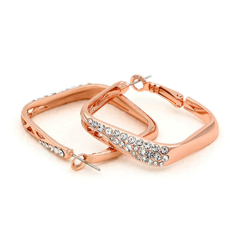 Rose Gold Color Austrian Rhinestone Crystal Square Hoop Earrings for Women New Christmas Gift - onlinejewelleryshopaus