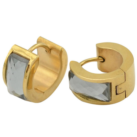 arrival stainless steel unisex huggie hoop earrings gray glass gold earrings jewlery 7mm*9mm - onlinejewelleryshopaus