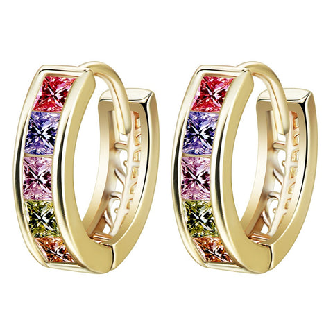10pcs/lot  Delicate Design  Gold Plated Colorful Square White Color Cubic Zirconia Women Hoop Earrings Nickel Free Jewelry - onlinejewelleryshopaus
