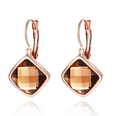 Classic Square Glassic Women Lady Jewelry Loop Earings Brinco Simple Vintage Rose Gold Plated Circle Round Hoop Earrings Female - onlinejewelleryshopaus