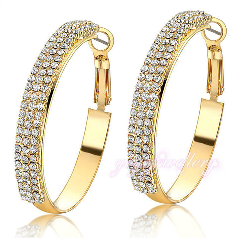 Mytys Pave Setting Crystal big hoop earrings Gold plated earrings for women Fashion jewelry  GIFT E843 - onlinejewelleryshopaus