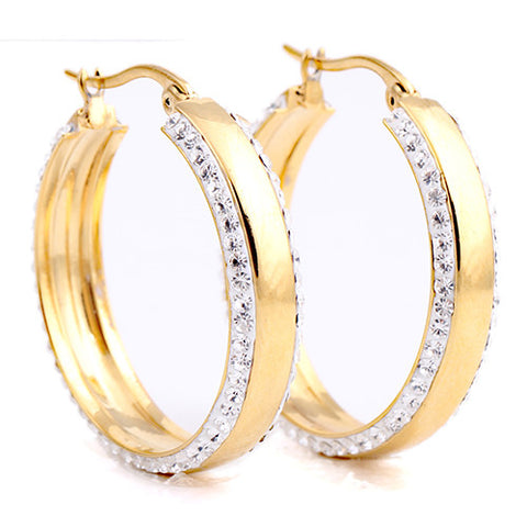 3Colors Hoop Earring Stainless Steel Rose Gold/Gold/ Silver Plated Trendy Crystal Round Hoop Earring For Women Wedding Jewelry - onlinejewelleryshopaus