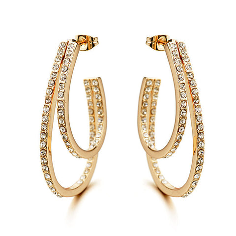 Women's Luxury Fashion Double Circle Hoop Earrings White Gold/Rose Gold Plated Classic AAA Czech Simulated Diamond Earrings - onlinejewelleryshopaus