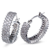 DC1989 Trendy Hoop Earrings for Women Wedding Rhodium Plated Synthetic Cubic Zirconia Lead Free Girls' Holiday Party Jewelries - onlinejewelleryshopaus