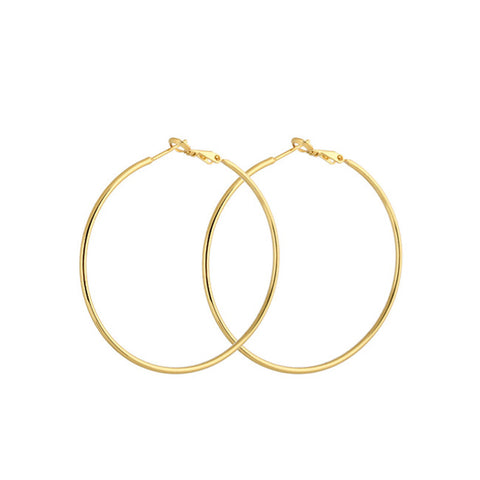 Fashion Jewelry Top Quality Promotion 18K Real Gold Plated Large Diameter Hip Hop Hoop Earrings Classic Wedding Gift - onlinejewelleryshopaus
