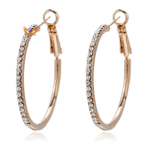 Top Quality Italina red apple Gold Plated 56MM diameter Big Hoop Earrings for women made with Austria Rhinestone - onlinejewelleryshopaus