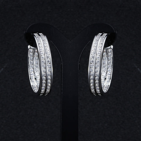 Limited Trendy Hoop Earrings Made with AAA Cubic Zirconia Platinum Plated Party Earrings Free Allergy Lead Free - onlinejewelleryshopaus