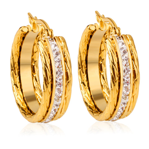 Simple Style Fashion Gold Plated White CZ Crystal Hoop Earrings Women Wedding Engagement Party Jewelry Free Shipping - onlinejewelleryshopaus