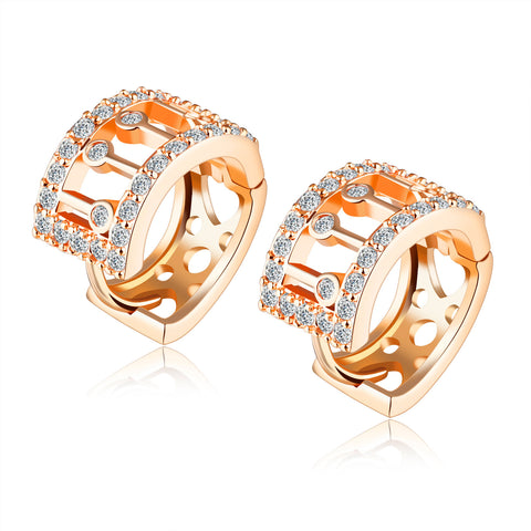 New Arrival Fashion Women Jewelry Delicate Accessories Gold-plated Inlaid CZ Diamond Little Hoop Earrings Gift for Girls KC678 - onlinejewelleryshopaus