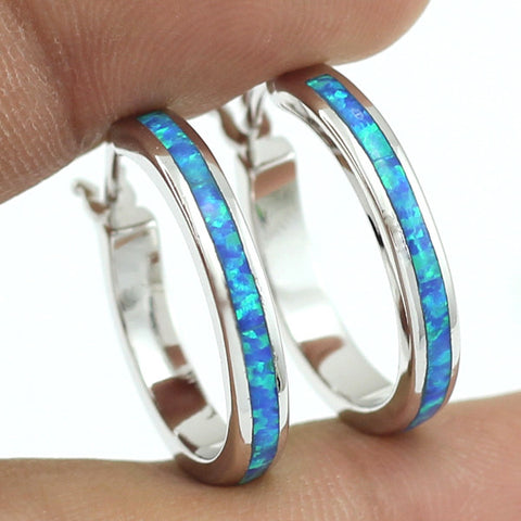 2016 New Unusual 20mm Synthetic Ocean Blue Fire Opal Stone Women Hoop Earring + Free Shipping With Tracking Number Free Gift Box - onlinejewelleryshopaus
