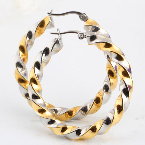Stainless Steel Earrings New Trendy Gold Plated Hoop Earrings Jewelry Wholesale Round Hoop Earrings For Women - onlinejewelleryshopaus
