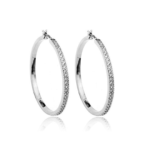 Italina Rigant Gold /Silver Plated Cz Rhinestones Hoop earrings for Women - onlinejewelleryshopaus