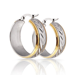 2 Colors Hoop Earrings For Women Fashion Female Hoop Earrings Jewelry Stainless Steel Earrings - onlinejewelleryshopaus
