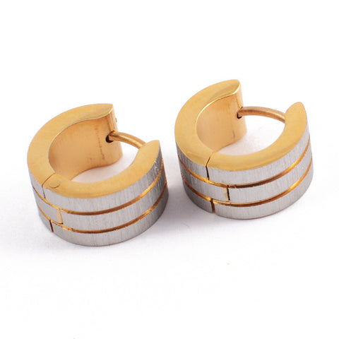 New Fashion Gold Plated Huggie Earrings Stainless Steel Men Women Silver Frosting Round Circle Clip Clasp Hoop Earrings - onlinejewelleryshopaus