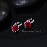 8 Color Options Classic Square Shape Cubic Zirconia Simulated Diamond Inlay Indian Red Fashion Hoop Earrings For Women ER209 - onlinejewelleryshopaus