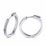 Classic Daily Round Beautiful Hoop Earrings Women Clear White Synthetic Cubic Zirconia Brass Circle shape Hoop Earrings - onlinejewelleryshopaus