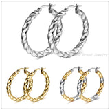 2015 Top Design Charming Womens Gilrs Fashion Jewelry Hoop Earrings 316L Stainless Steel Twisted Studs Silver Gold Ladies Gift - onlinejewelleryshopaus