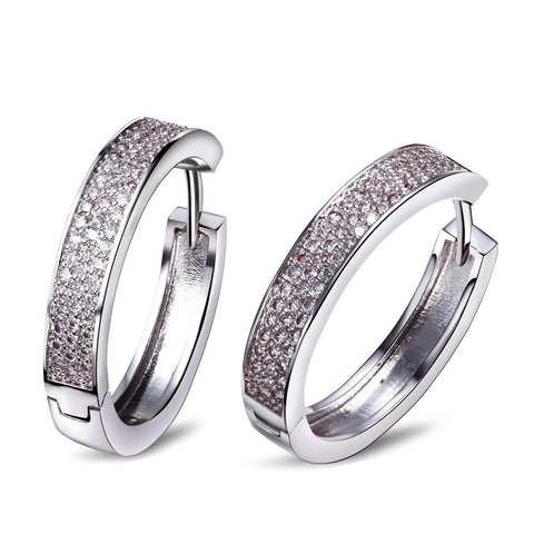 Mansaku New AAA Cubic Zirconia Women Hoop Earrings Micro Pave Setting Rhodium Plated Lead Free Nickel Free Long evening party - onlinejewelleryshopaus